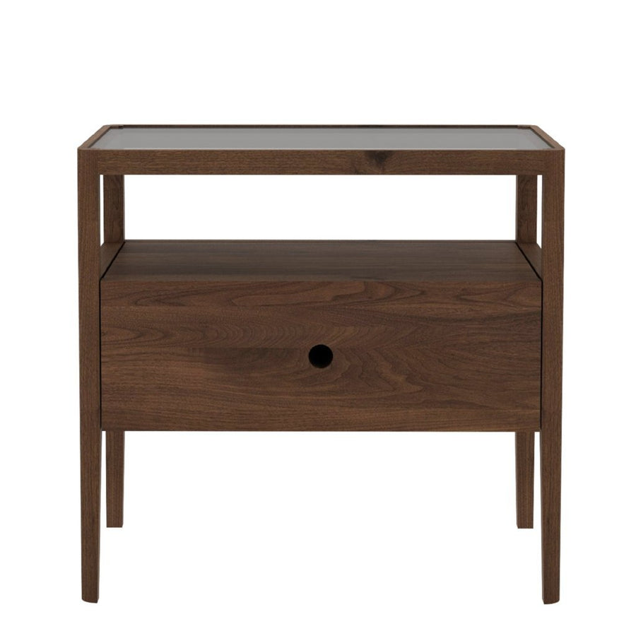 Ethnicraft Walnut Spindle Bedside Table - 1 Drawer