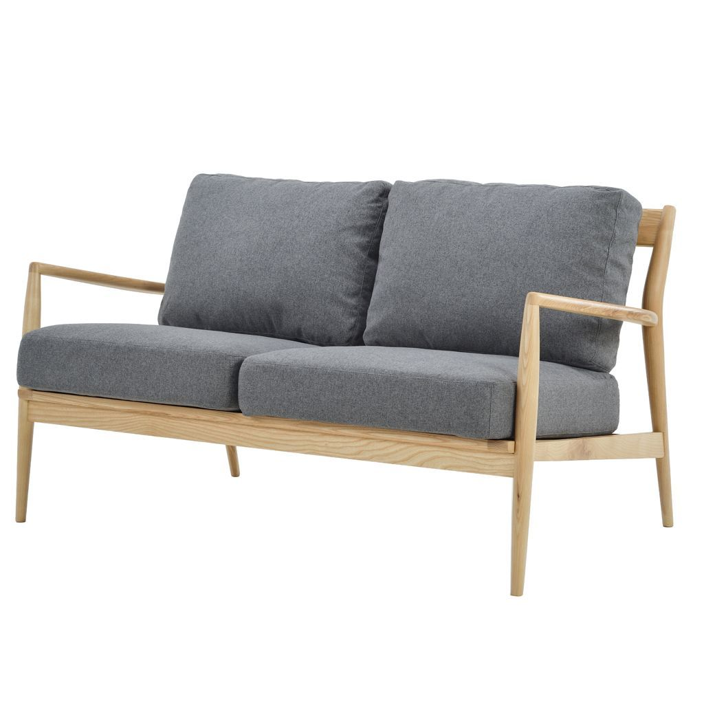 NOFU 805 2 Seater Sofa - Slate Grey/Natural Ash
