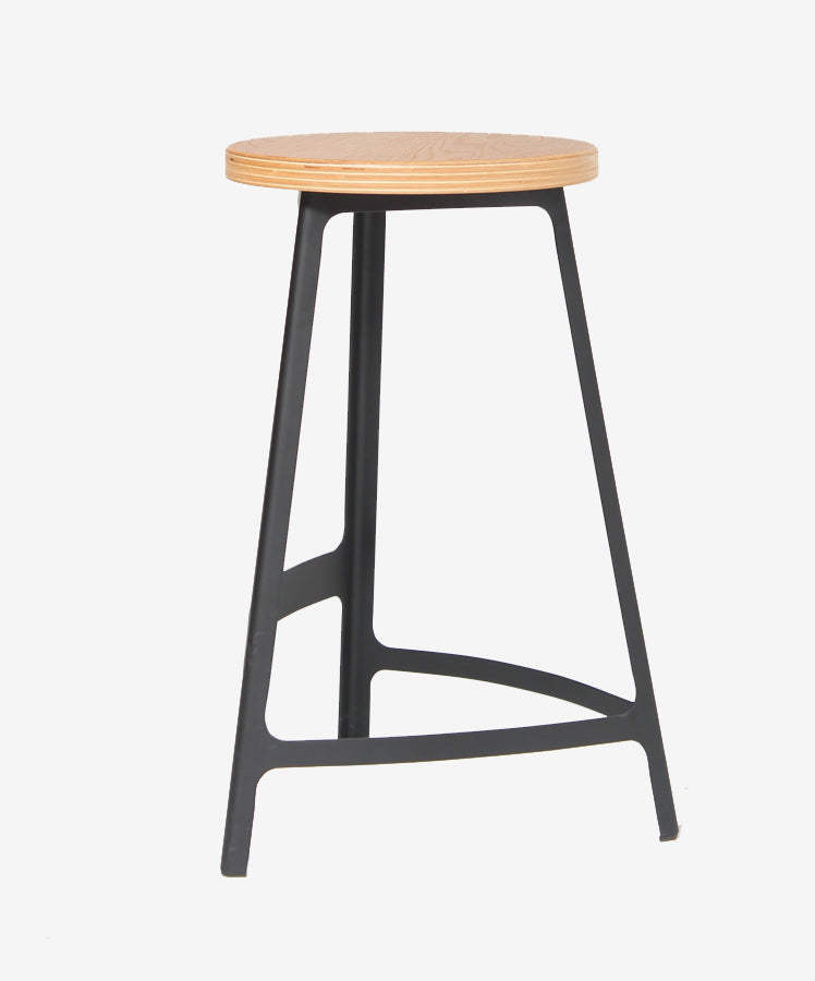 Factory Counter Stool - Oak / Black