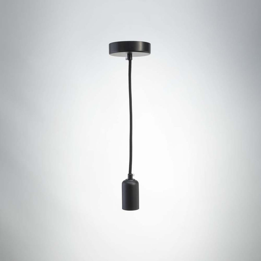 Vintage LED E27 Metal Pendant - Black Matte