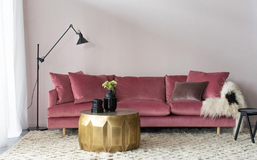 Lux Sofa in Blush Velvet
