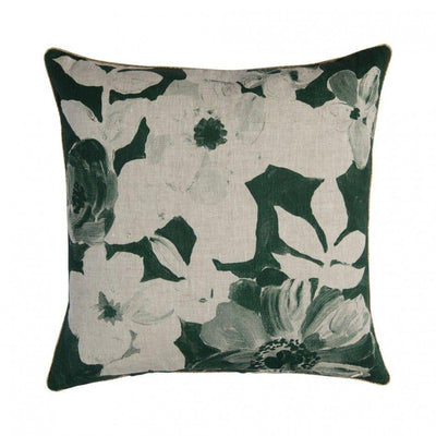 Hand Painted Floral Green Cushion