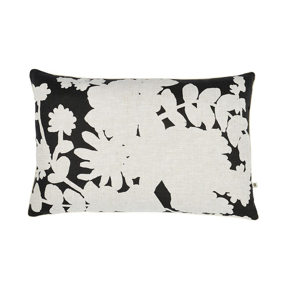 Poppy Linen Reverse Cushion in Black - Rectangular