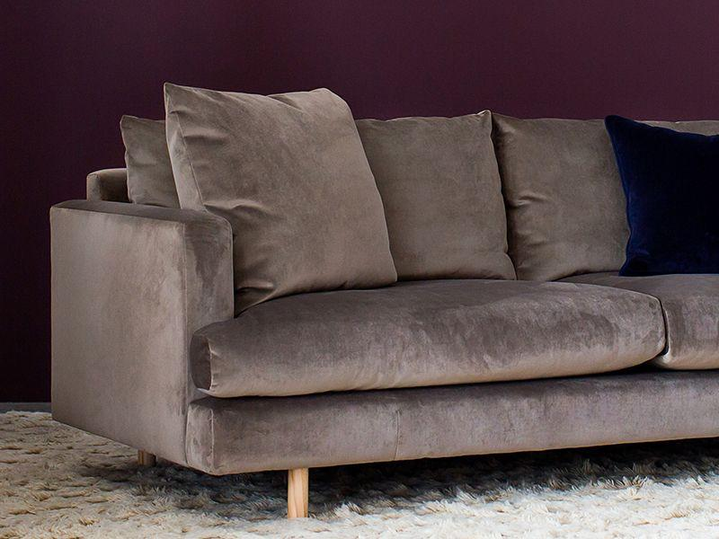 Lux 4 Seater Sofa in Taupe Velvet