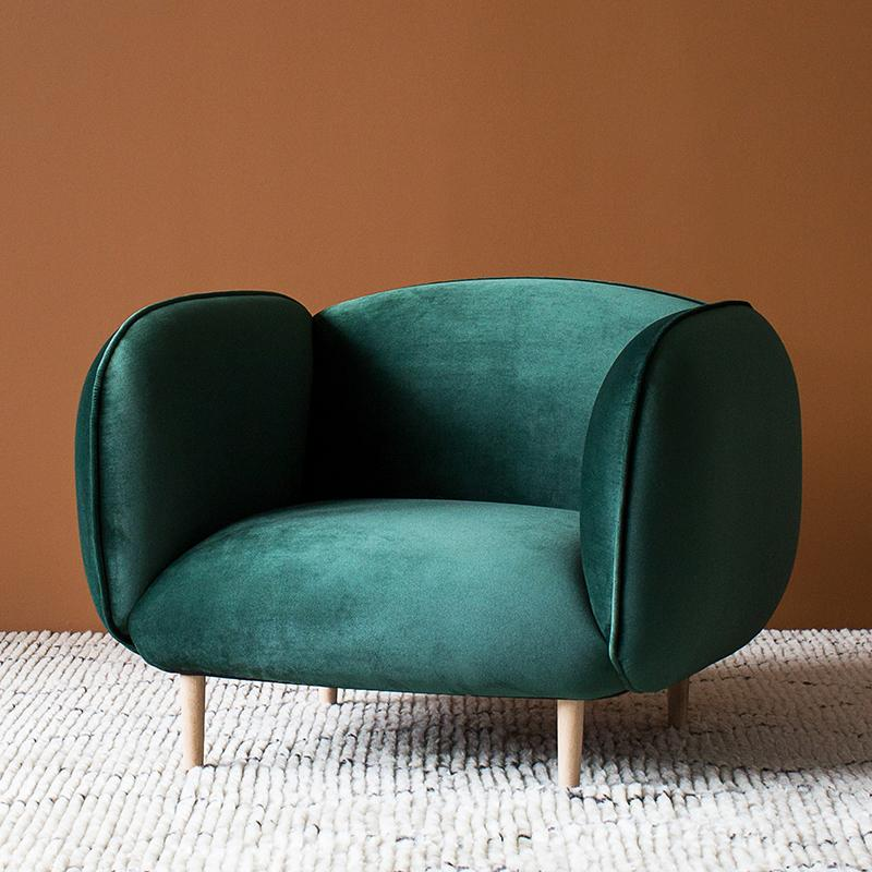 Mellow Chair in Forest Green Velvet