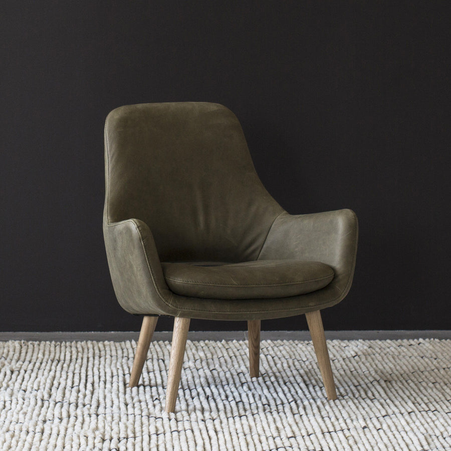 Engels Armchair in Olive Leather