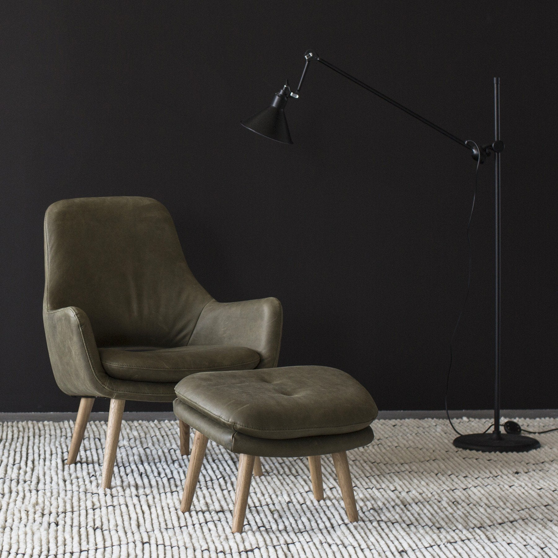 Engels Armchair With Footstool In Olive Leather