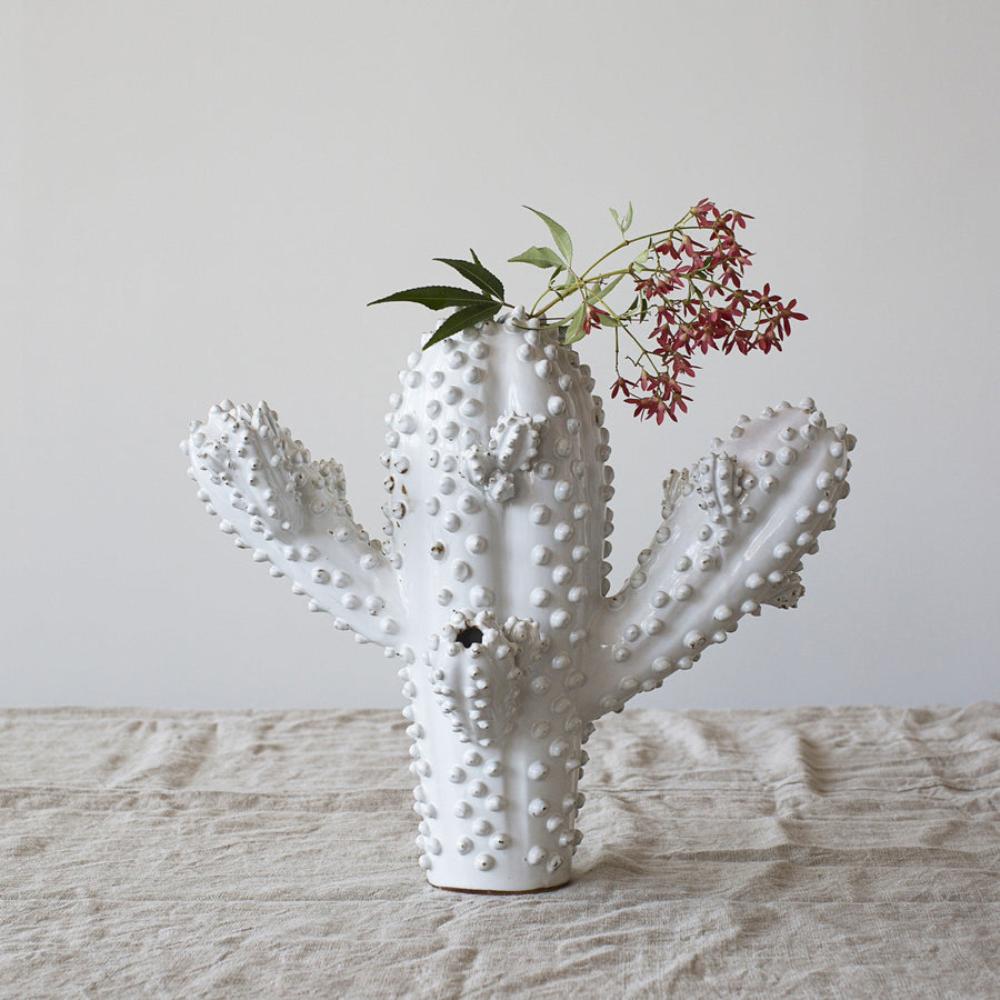 Cactus Vase - Natural White