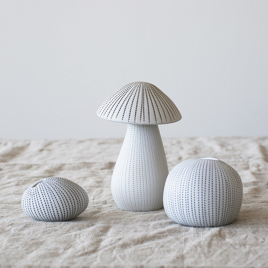 Large Ceramic Mushroom - White/Brown