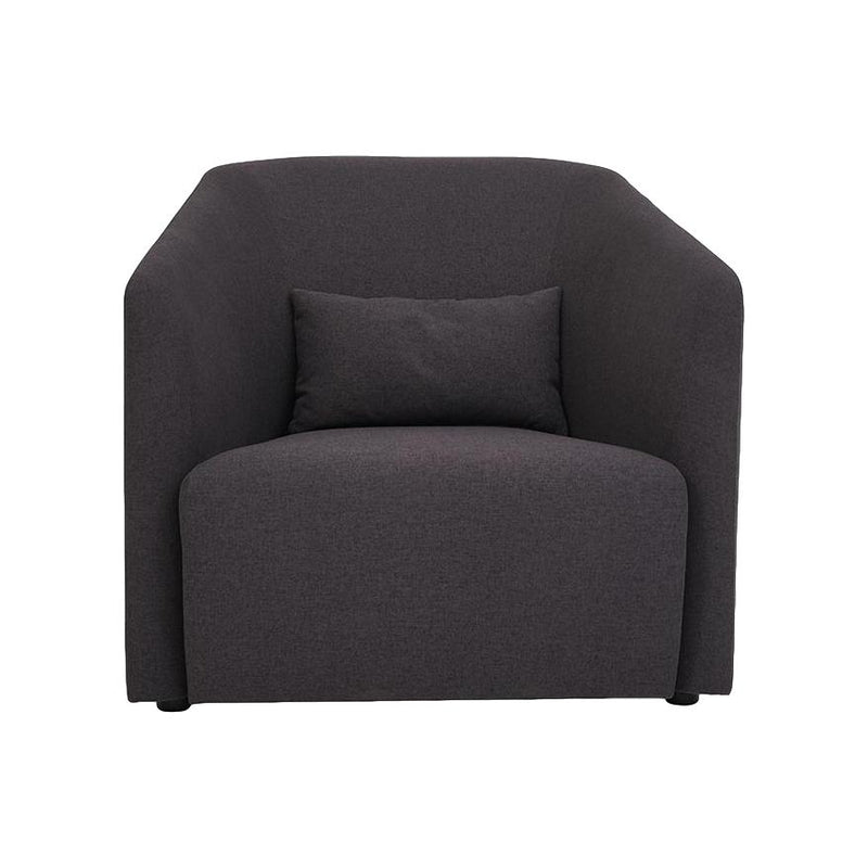 Hub Lounge Armchair in Dark Grey Velvet