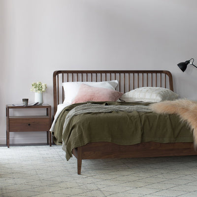 Ethnicraft Walnut Spindle King Bed