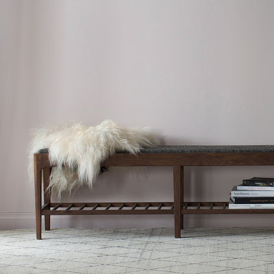 buy Ethnicraft Walnut Spindle Bench With Upholstery online