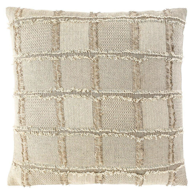 100% Linen Fringed Bedu Cushion - Natural