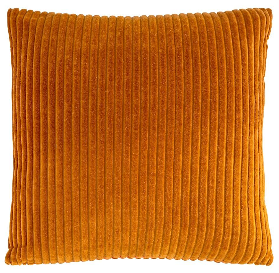 100% Cotton Ribbed Velvet Cushion - Burnt Orange