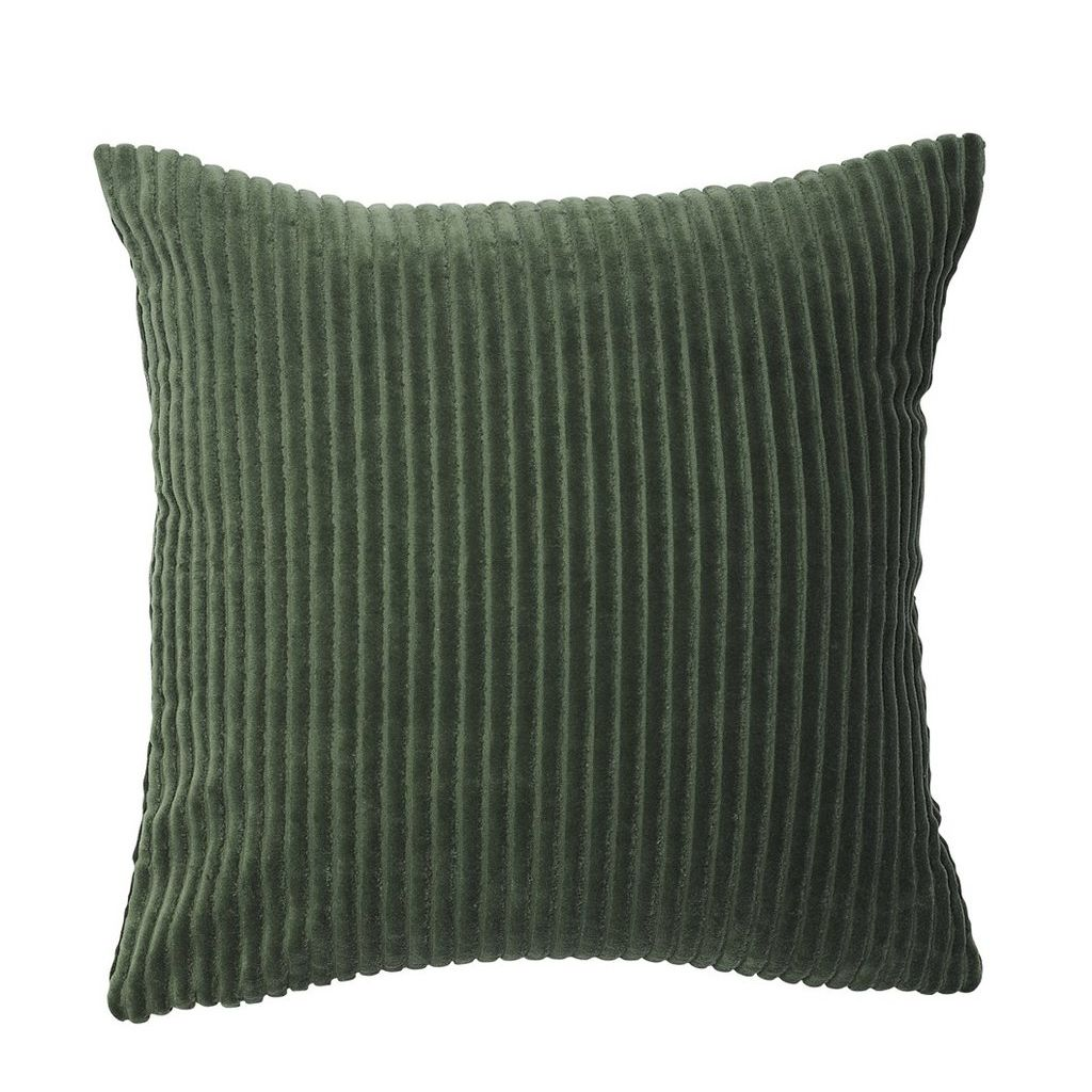 buy 100% cotton ribbed velvet cushion - khaki online