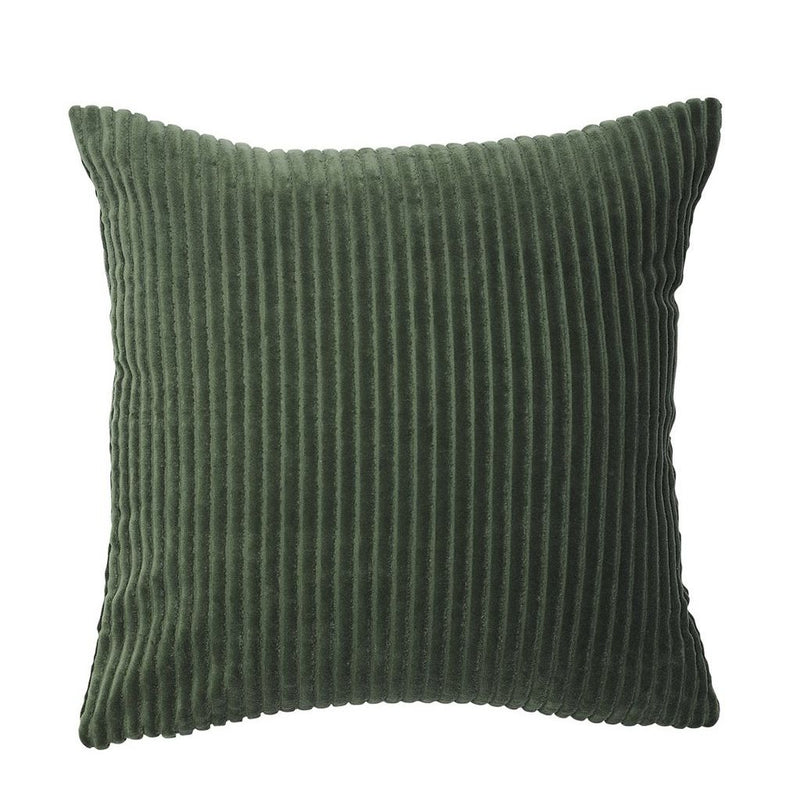100% cotton ribbed velvet cushion - khaki