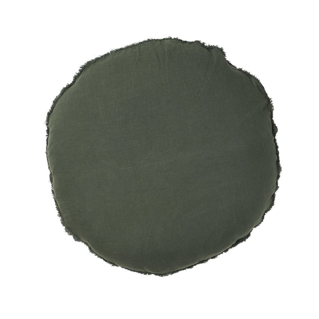 buy 100% European Linen Round Cushion - Khaki online