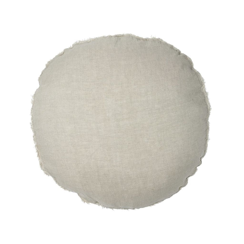 100% European Linen Round Cushion - Natural