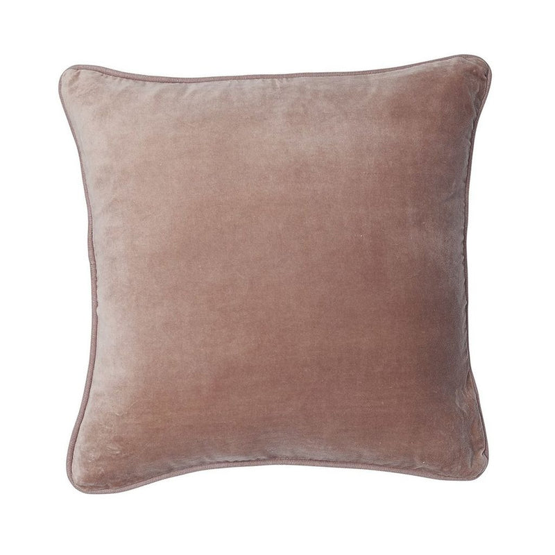 buy 100% Cotton Velvet Cushion with Linen Piping - Musk online