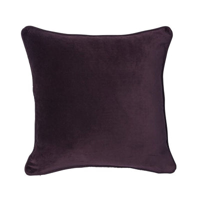 100% Cotton Velvet Cushion with Linen Piping - Burgundy