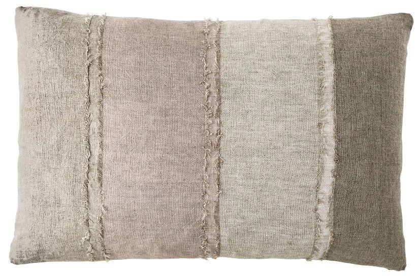 100% Linen Panelled Rectangular Cushion - Musk