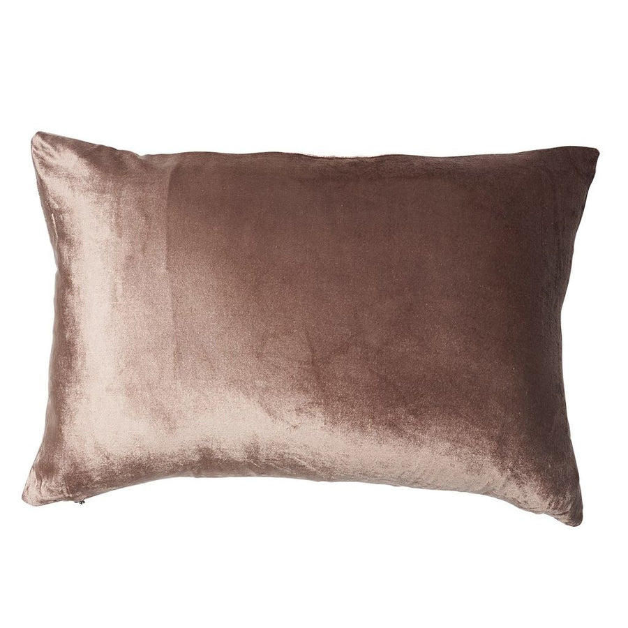 Rectangular Metallic Velvet Cushion - Rose Gold