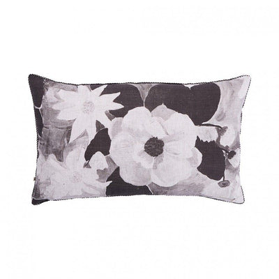 Magnolia Linen Cushion - Black and Gold