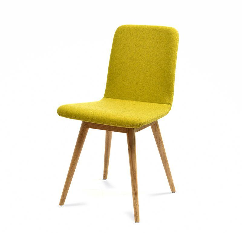 Ena Oak Dining Chair - Yellow Felt