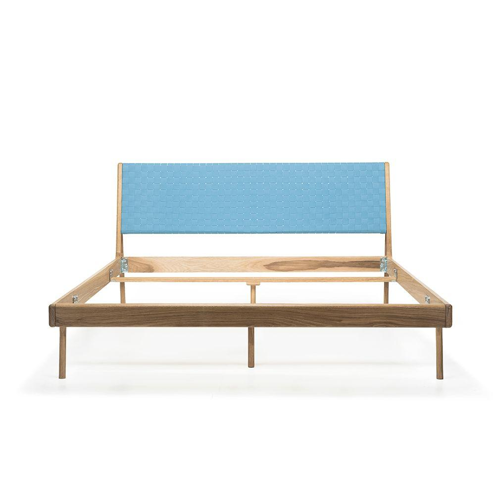 Fawn Oak Queen Bed - Blue Cotton