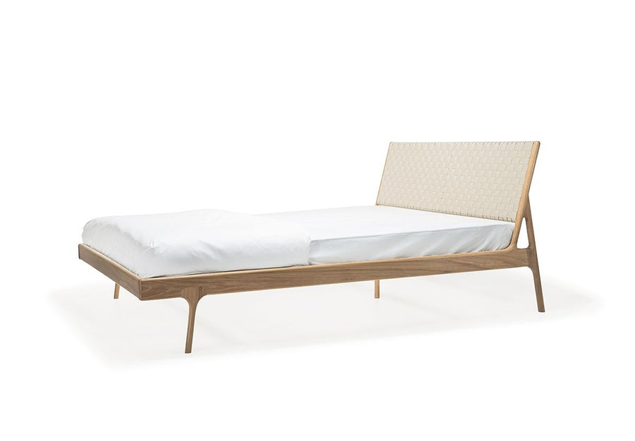 Fawn Oak King Bed - White Cotton