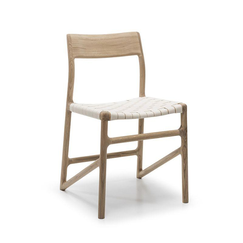 Fawn Oak Dining Chair - White Cotton