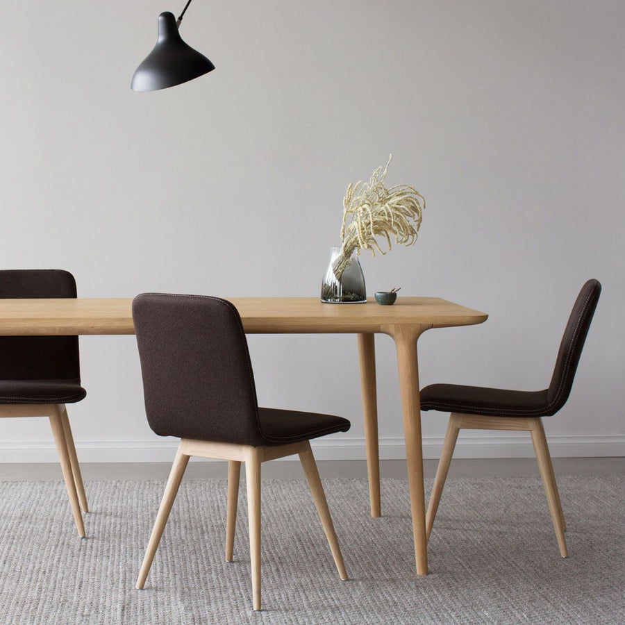 Ena Oak Dining Chair - Dark Brown Felt