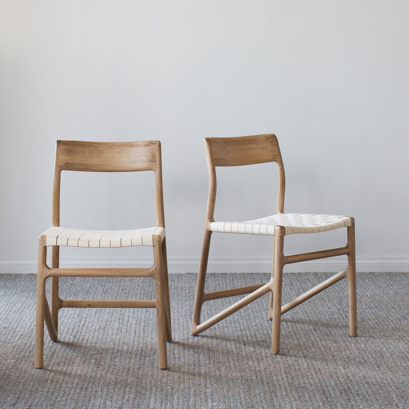 buy Fawn Oak Dining Chair - White Cotton online