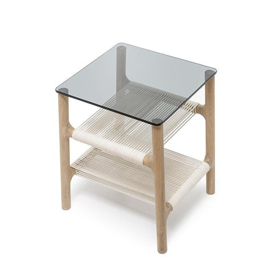 Fawn Oak Side Table - Grey Glass and White Cotton