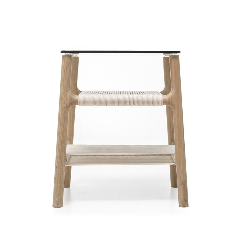 buy Fawn Oak Side Table - Grey Glass and White Cotton online