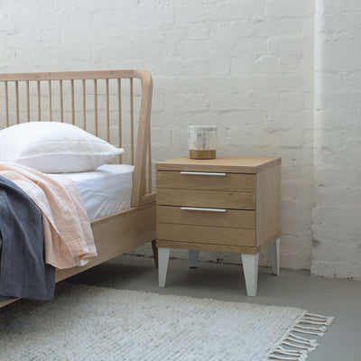 Industrial M Bedside Table with 2 Drawers - White