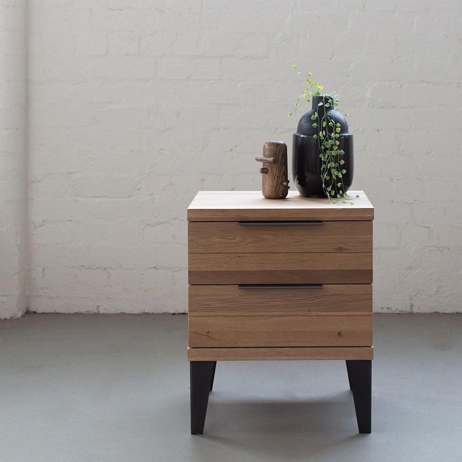 Industrial M Bedside Table with 2 Drawers - Graphite