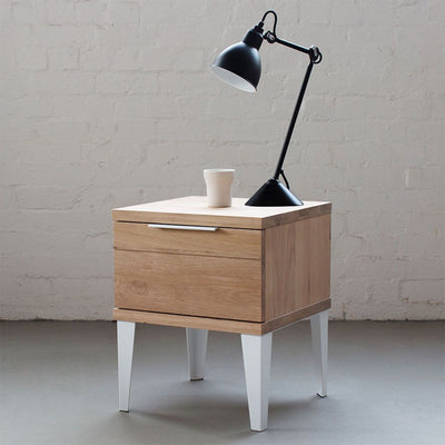 buy Industrial M Bedside Table with 1 Drawer - White online