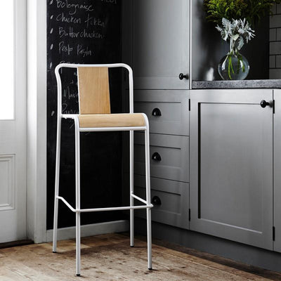 Industrial M Bar Stool - White