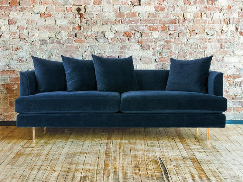 Margot Midnight Blue Velvet Sofa Curious Grace