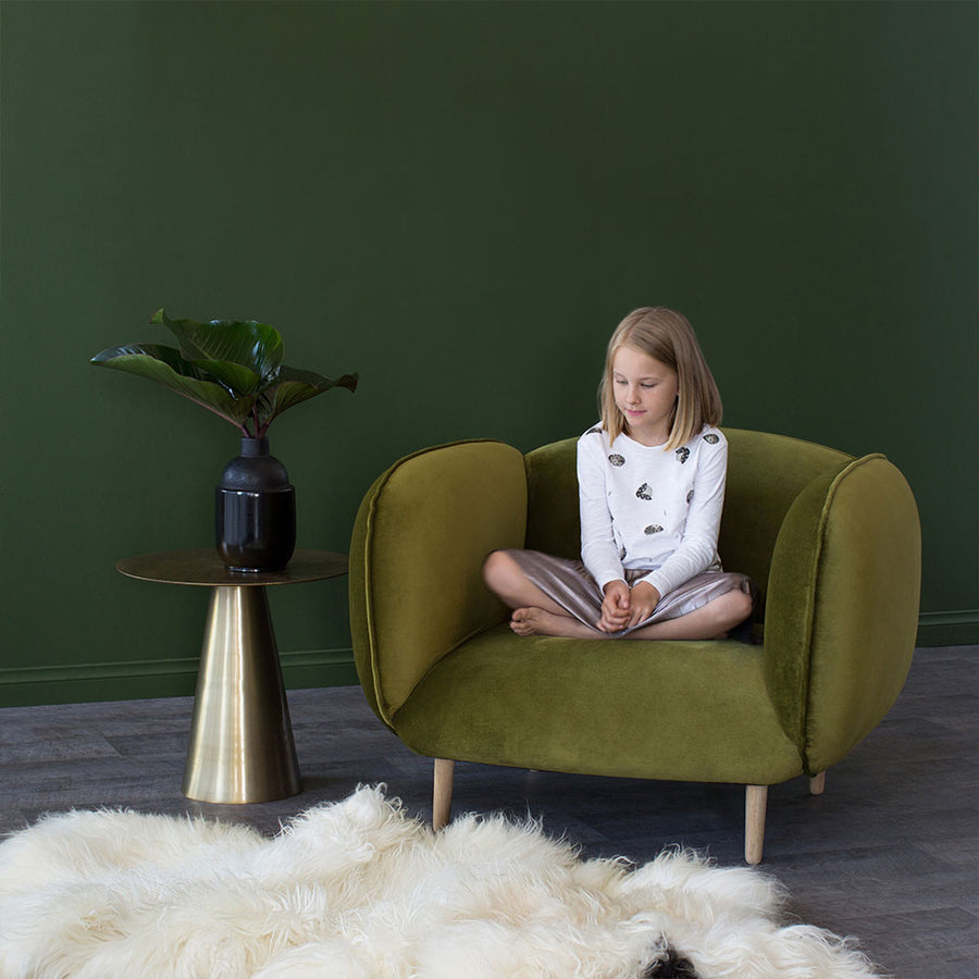 Mellow Chair in Chartreuse Velvet