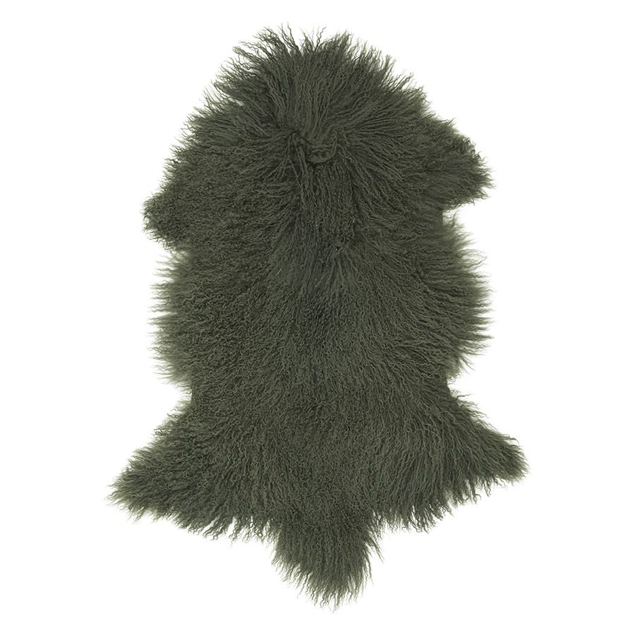 Mongolian Sheepskin Rug in Olive