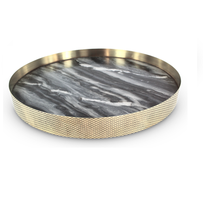 Orbit Round Tray in Smokey Marble
