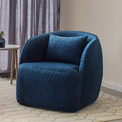 Penelope Quilted Occasional Chair in Navy Velvet