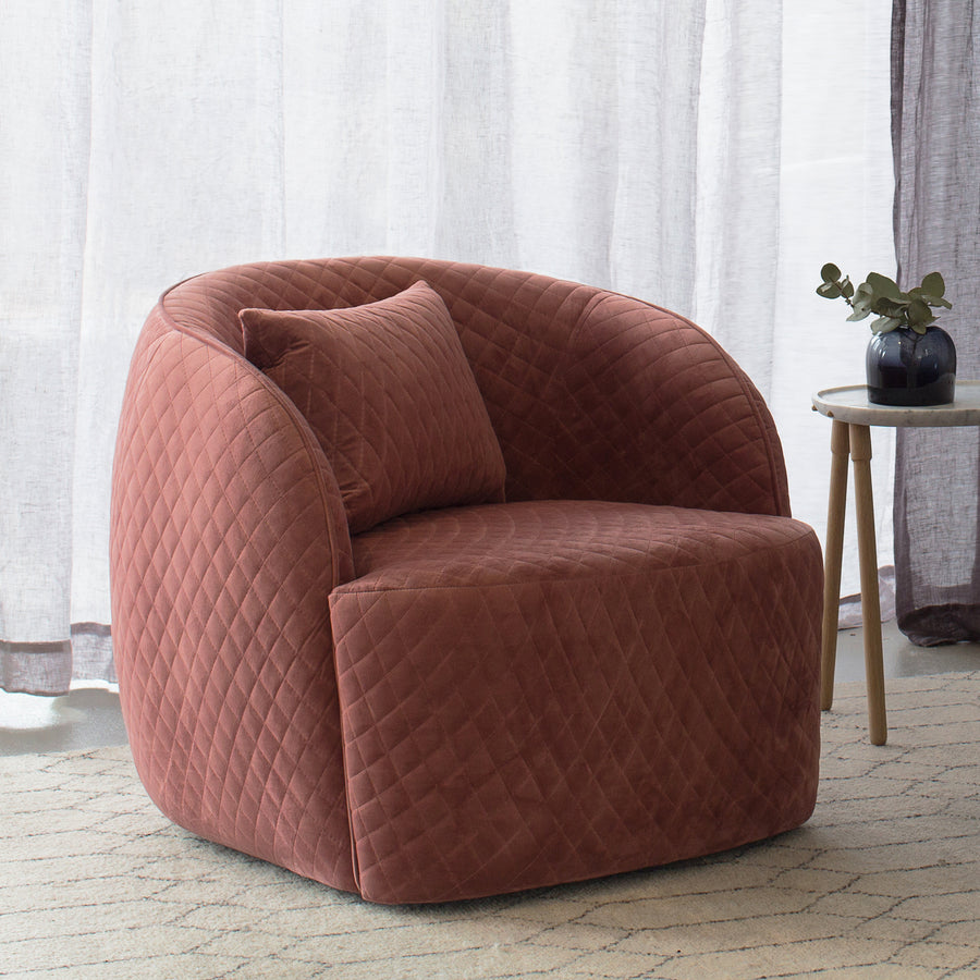 Penelope Quilted Occasional Chair in Dust Berry Velvet