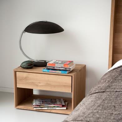 Ethnicraft Oak Nordic II Bedside Table with Drawer