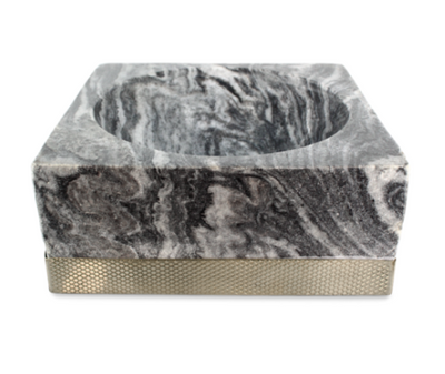 The Block Bowl - Diamond Pattern/Smokey Marble