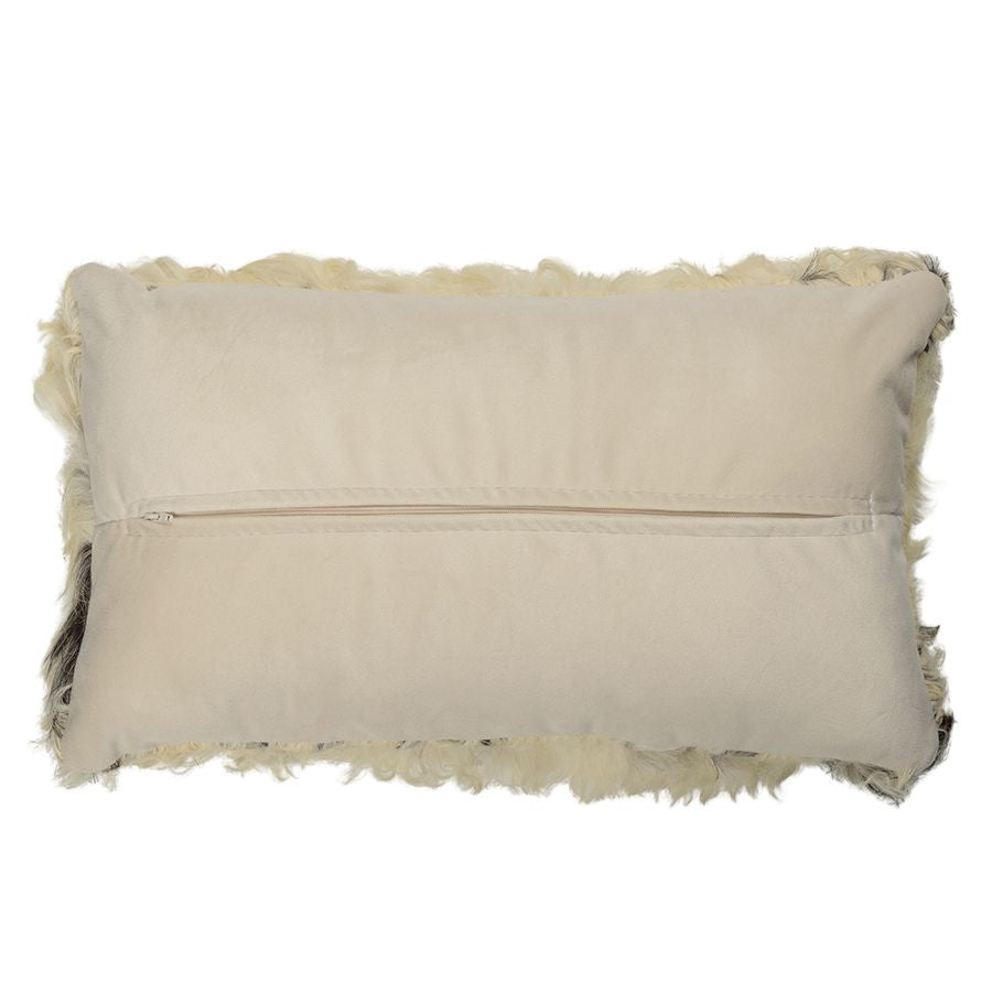 Sheepskin Cushion - Brown and White