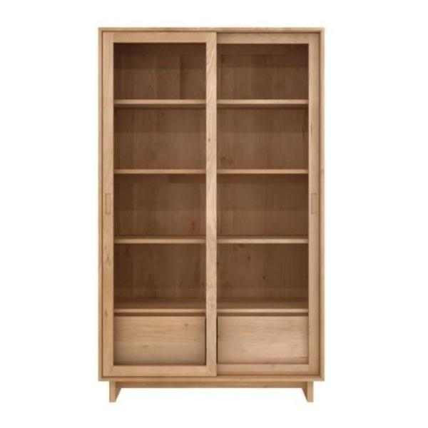 buy Ethnicraft Oak Wave book rack - 2 sliding doors / 2 drawers online