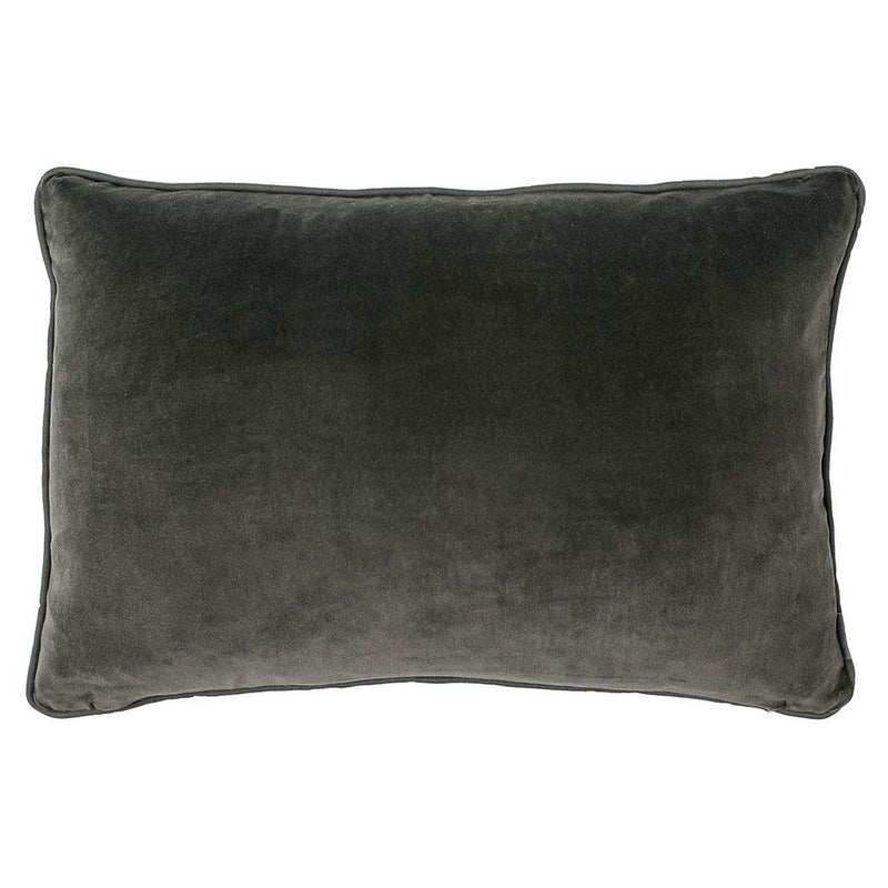 buy 100% Cotton Velvet Cushion with Linen Piping - Khaki online